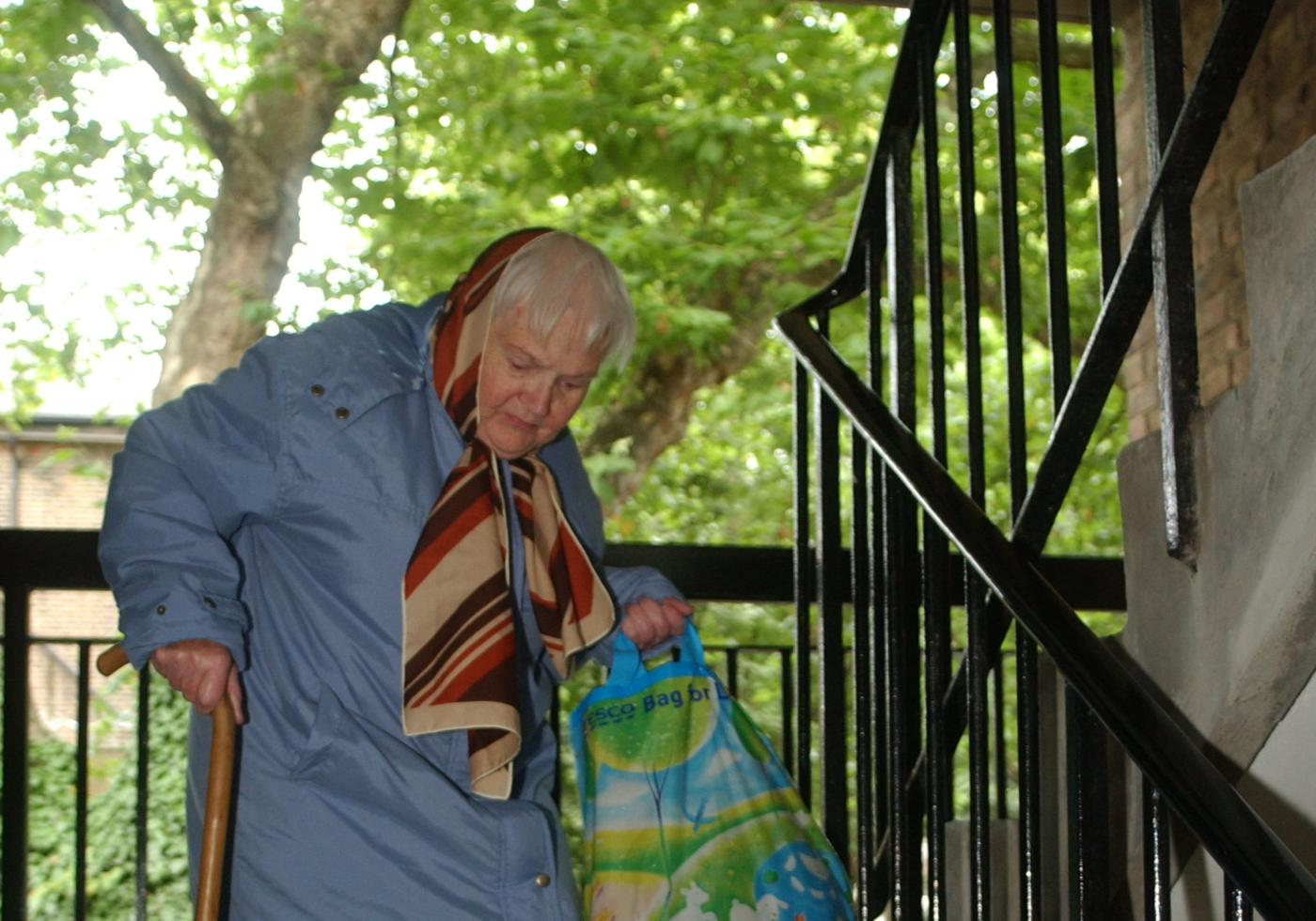 Elderly lady walking down steps with a bag of shopping