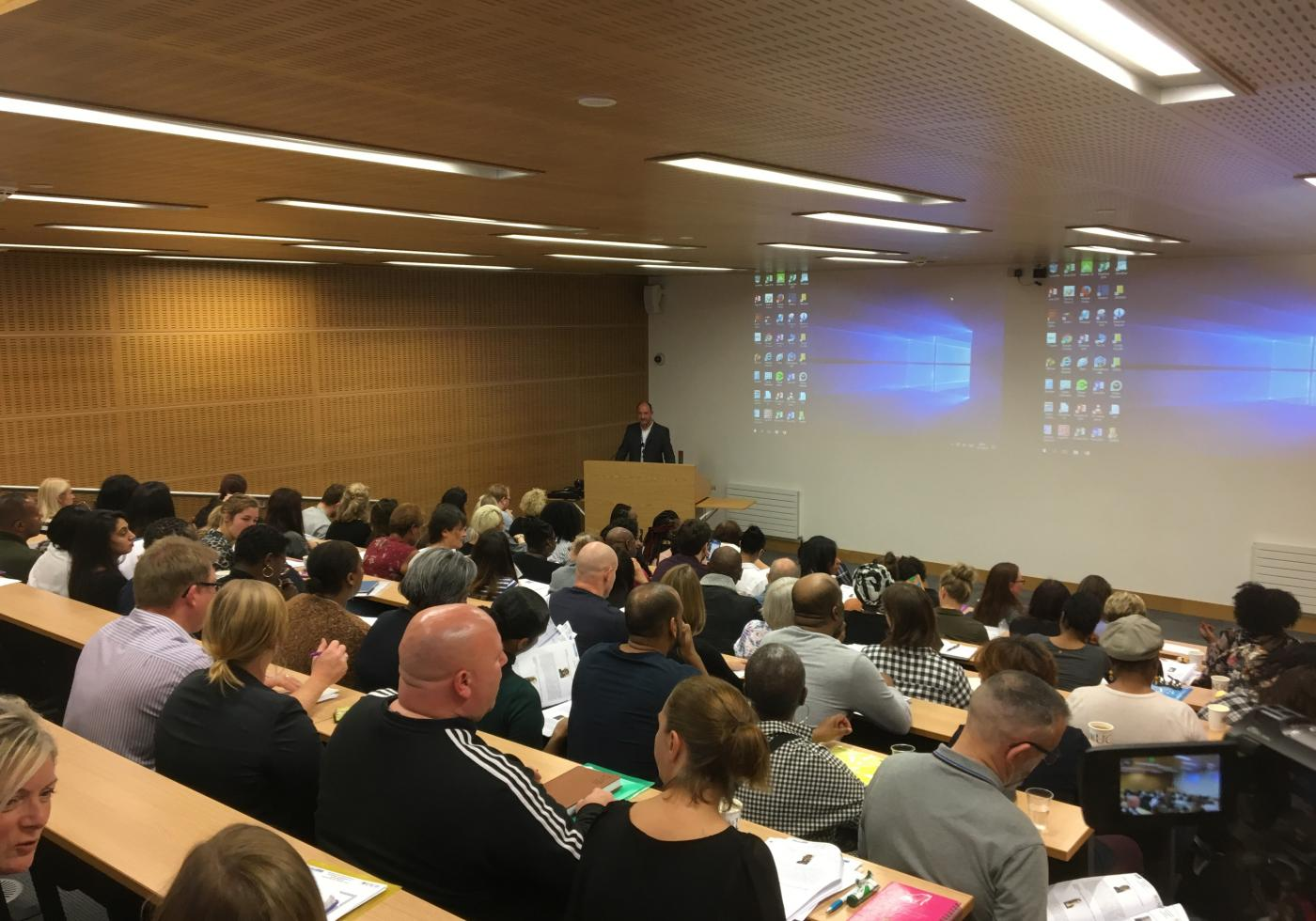 Branch meeting in a Birmingham University lecture theatre