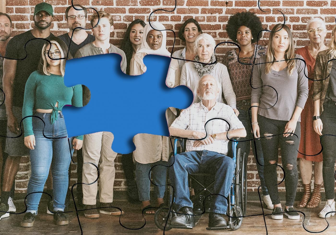 Jigsaw of diverse group of people