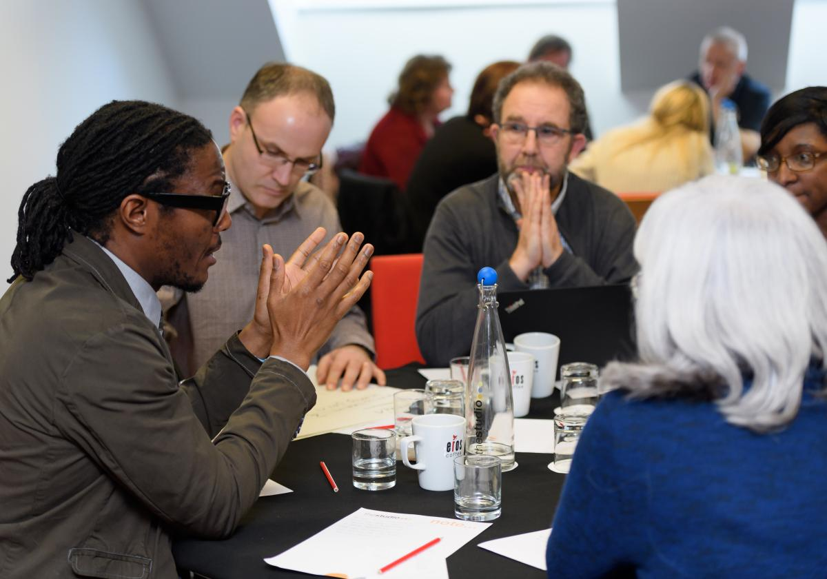 Table discussion amongst social workers