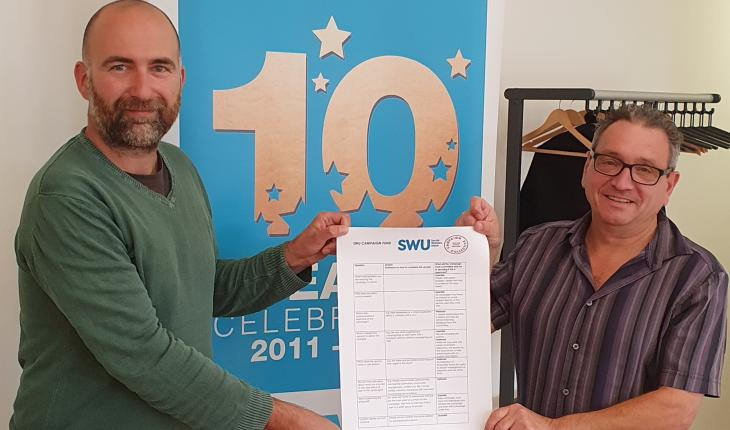 Simon Francis (Campaign Collective) and John McGowan (SWU) hold a copy of the SWU Campaign Fund application form between them