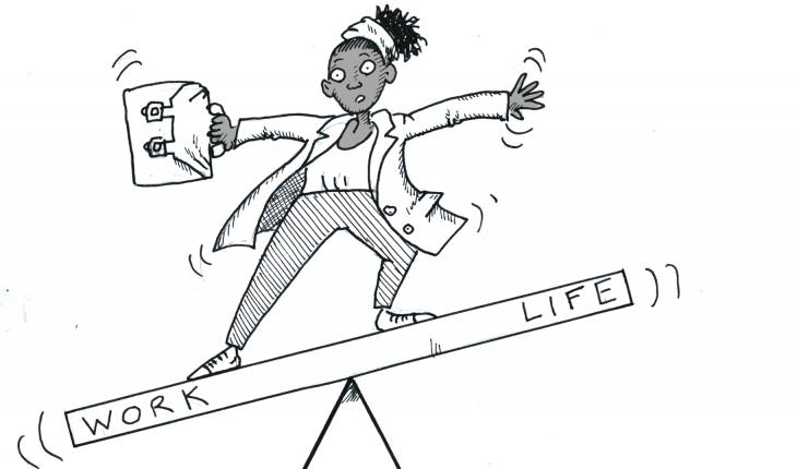 """A professionally dressed woman holding a briefcase stands precariously balancing on a seesaw. One end of the seesaw is labeled """"work"""" and the other is """"life"""". The """"work"""" end of the seesaw is lower than the """"life"""" end of the seesaw."""