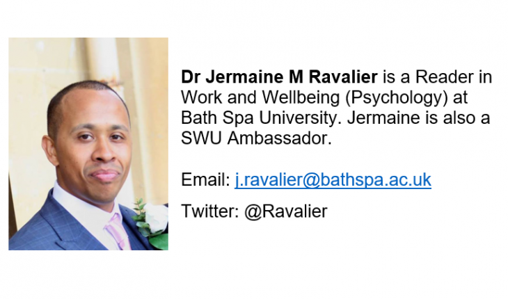 Dr Jermaine M Ravalier is a Reader in Work and Wellbeing (Psychology) at Bath Spa University. Jermaine is also a SWU Ambassador.  Email: j.ravalier@bathspa.ac.uk Twitter: @Ravalier