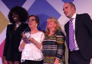 From left, award host Lorraine Pascale, Carole Goodman, BASW England national director Maris Stratulis and James Rook, CEO of Sanctuary Personnel