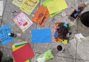 A child engages in art therapy after arriving from Afghanistan to the UK