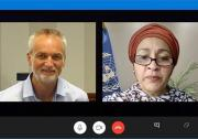 Photo of video call between Rory Truell and Amina Mohammed
