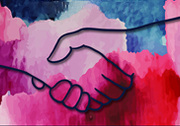 World Social Work Day 2020 poster - Two hands holding over a mixture of different colours