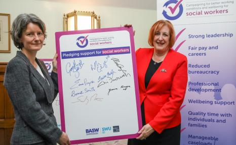 Social work working conditions campaign with MP Signatures and BASW Chair