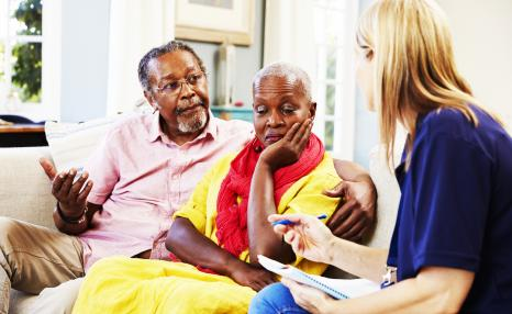 PCF - Advanced social worker: Elderly couple speak to female advanced social worker