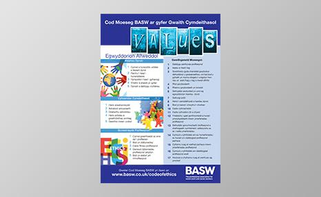 BASW Code of Ethics poster (Welsh language)