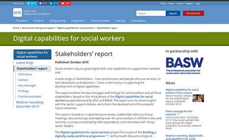 SCIE website: Digital capabilities stakeholder report