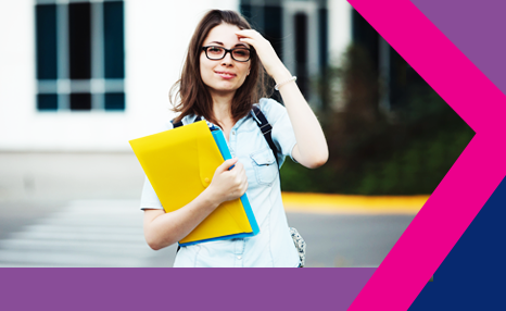 PCF - Readiness for direct practice: Female social work student holding folders