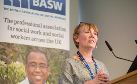 Professional Officer, Allison, speaking at world social work day
